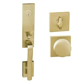 Sure Loc Hardware Vail Handleset With Logan Lever Interior Trim Satin Brass In The Handlesets Department At Lowes Com