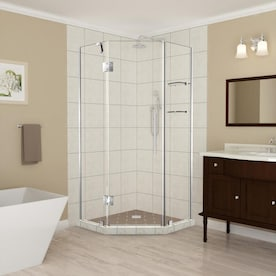Aston Merrick Gs 42 In To 42 5 In X 72 In Frameless Hinged Neo Angle Shower Enclosure With Glass Shelves In Stainless Steel In The Shower Doors Department At Lowes Com