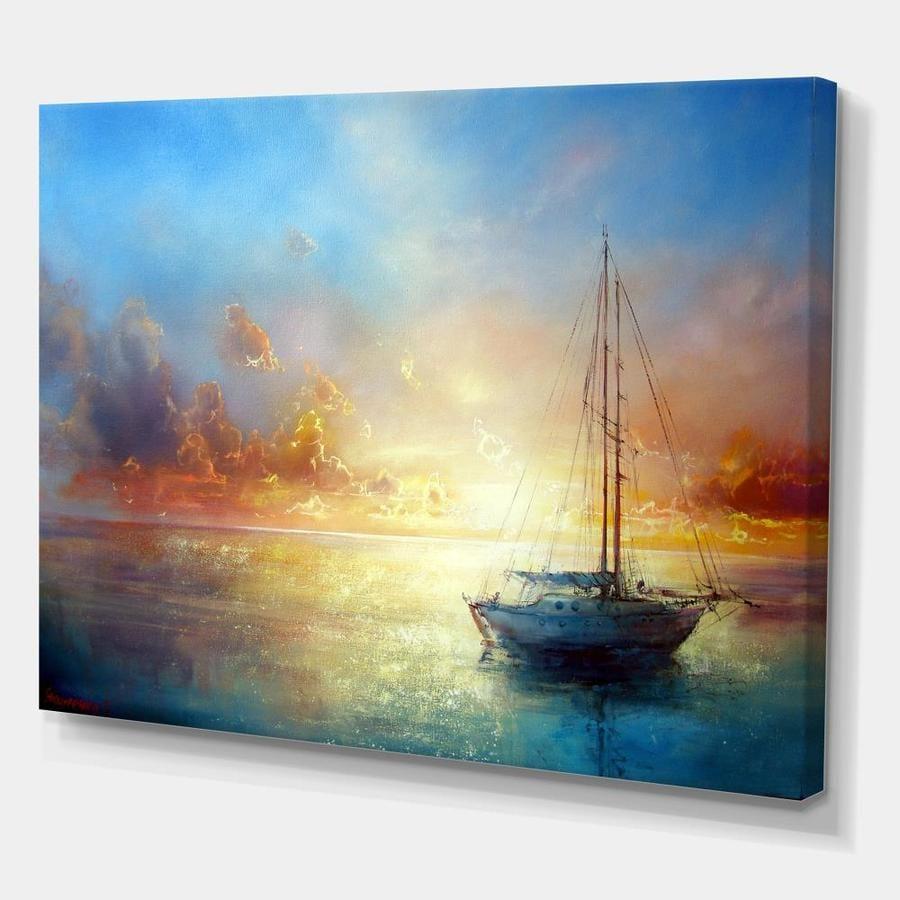Designart Seascape Pier Seascape Canvas Art Print In The Wall Art Department At Lowes Com