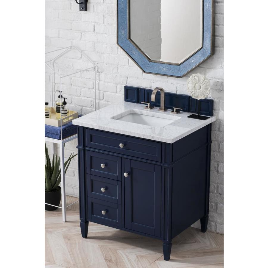James Martin Vanities Brittany 30 In Victory Blue Single Sink Bathroom Vanity With Carrara White Marble Top In The Bathroom Vanities With Tops Department At Lowes Com