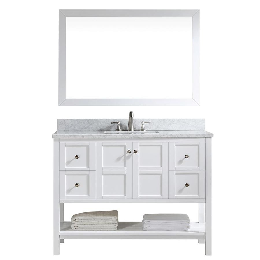 Casainc 22 In White Undermount Single Sink Bathroom Vanity With Off White With Speckles Marble Top Mirror Included In The Bathroom Vanities With Tops Department At Lowes Com