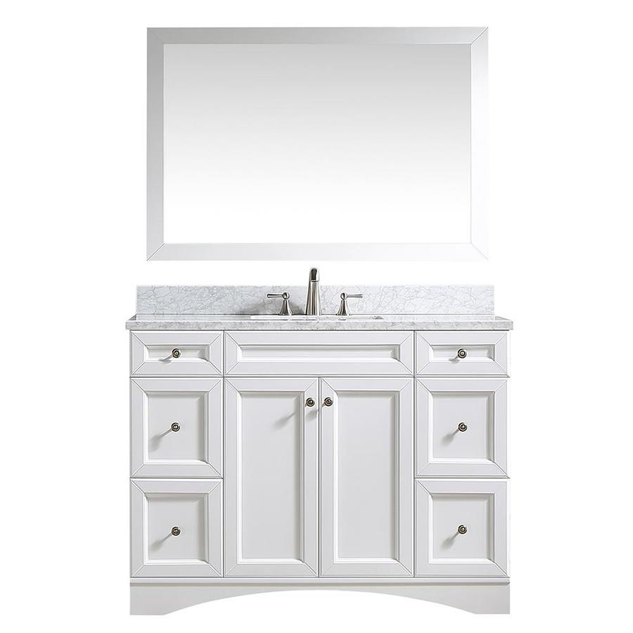 Casainc 48 In White Undermount Single Sink Bathroom Vanity With Off White With Speckles Marble Top Mirror Included In The Bathroom Vanities With Tops Department At Lowes Com