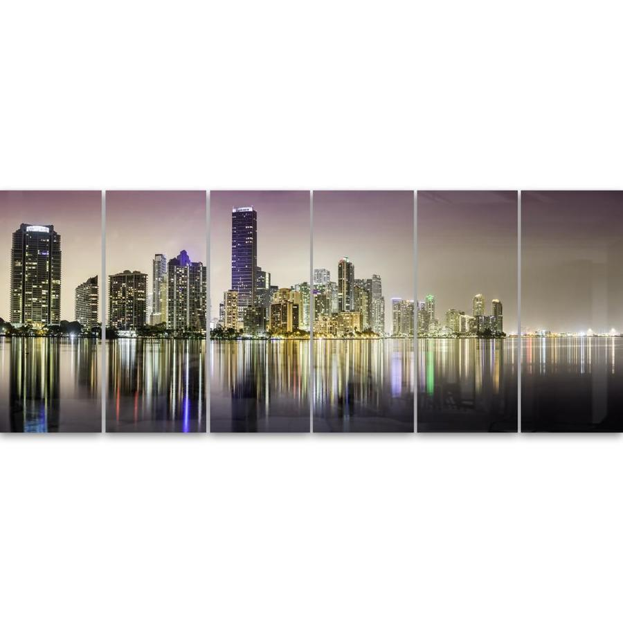 Designart Miami Downtown Night Panorama Large Multipanel Extra Large Metal Wall Art In The Wall Art Department At Lowes Com