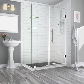 Aston Bromley 72 In H X 75 25 In To 76 25 In W Frameless Hinged Shower Door Clear Glass In The Shower Doors Department At Lowes Com