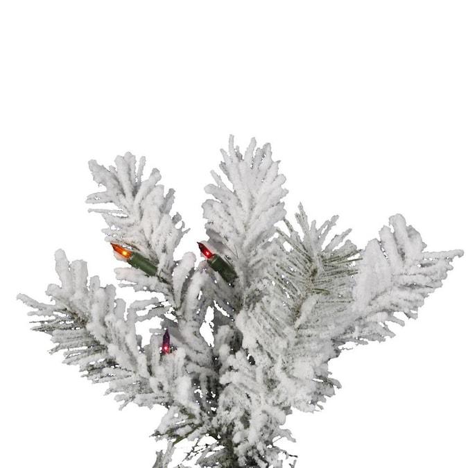 Vickerman 36-ft Pre-Lit Traditional Slim Flocked White ...