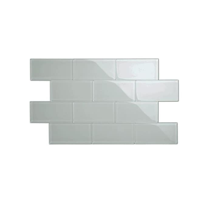Giorbello 3x6 Glass Subway Tiles 44 Pack True Gray 3 In X