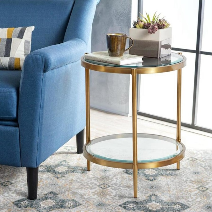 Casainc Glass Top 3 Legs End Table With Storage Clear Glass Round End Table In The End Tables Department At Lowes Com