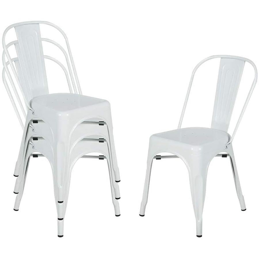 Casainc White Metal Dining Chairs Stackable Side Chairs With Back Indoor Outdoor Use Chair For Farmhouse Patio Restaurant Kitchen Set Of 4 In The Dining Chairs Department At Lowes Com