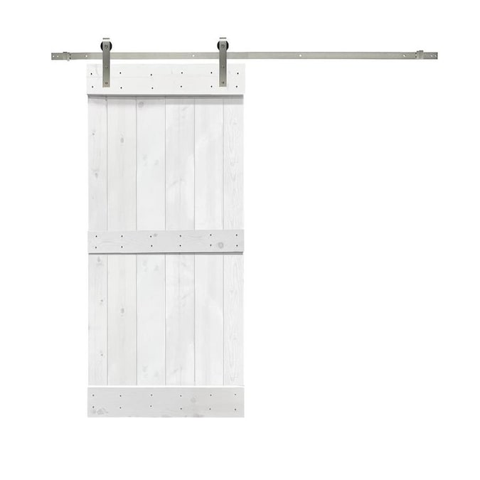 Calhome Mid Bar Wood Barn Door White Ss72 30 In X 84 In White 2 Panel Stained Pine Wood Single Barn Door Hardware Included In The Barn Doors Department At Lowes Com