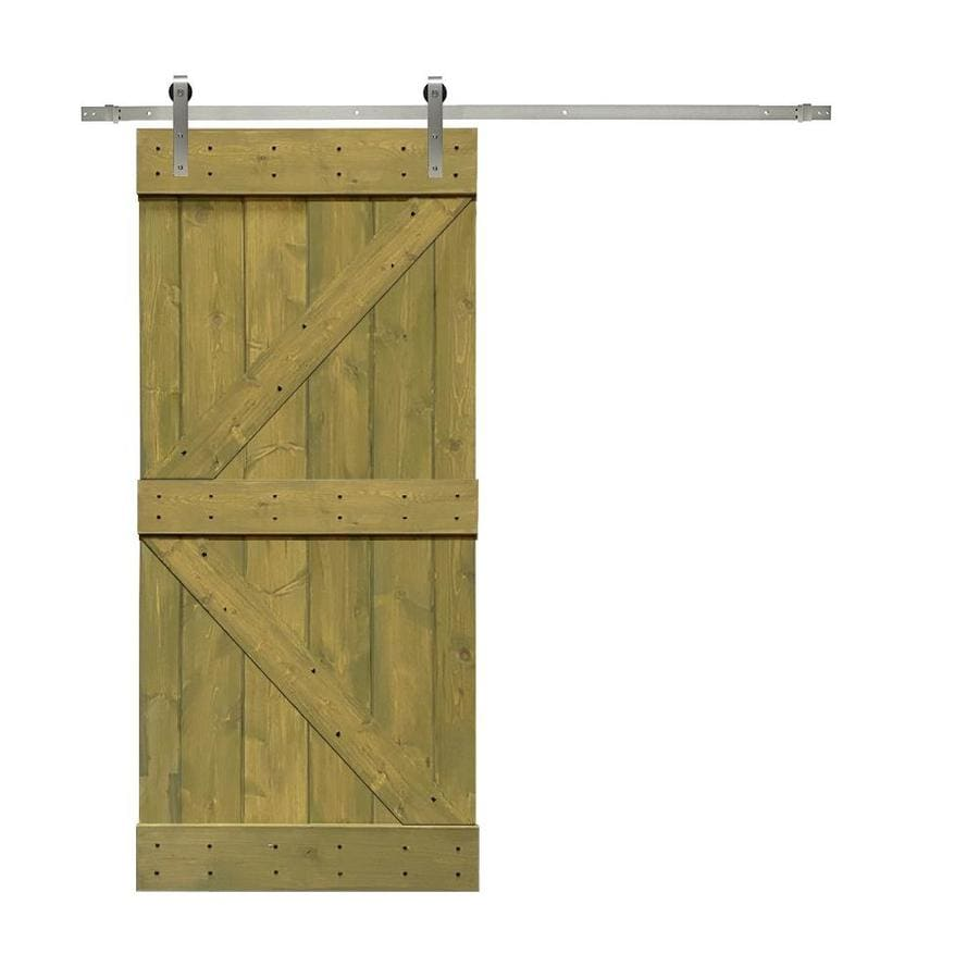 Calhome Kbar Wood Barn Door Jungle Ss72 36 In X 84 In Jungle Green 2 Panel Stained Pine Wood Single Barn Door Hardware Included In The Barn Doors Department At Lowes Com