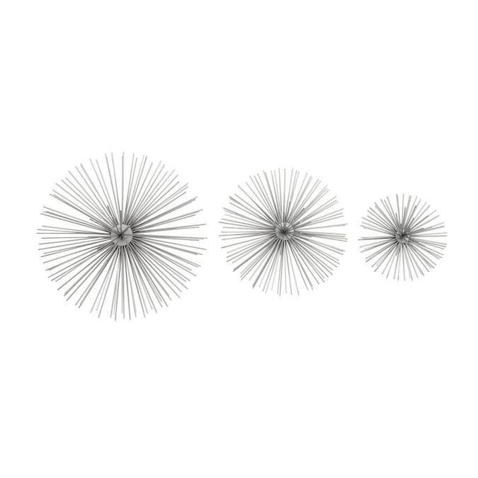 """Set of 3: 6/"""" 9/"""" CosmoLiving by Cosmopolitan 50389 Contemporary Style 3D Round Silver Metal Starburst Wall Decor Sculptures 11/"""""""