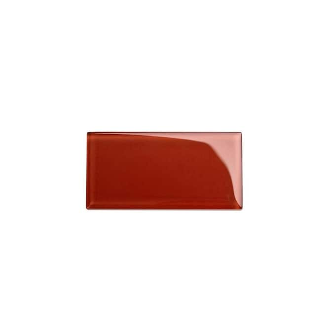 Giorbello 3x6 Glass Subway Tiles Ruby Red 3 In X 6 In