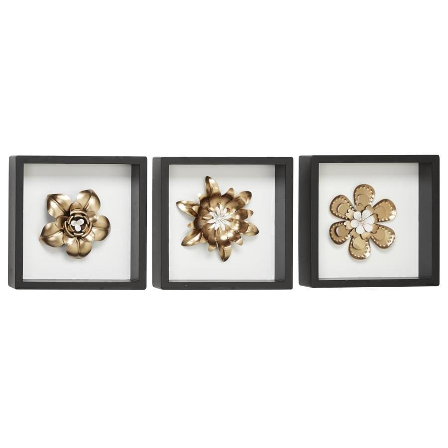 Grayson Lane White And Gold Metal Flower Wall Decor Sculptures In Square Black Frames Set Of 3 In The Wall Art Department At Lowes Com