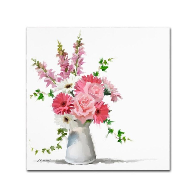 Trademark Fine Art The Macneil Studio Pink Flowers 35x35 Canvas Art In The Wall Art Department At Lowes Com