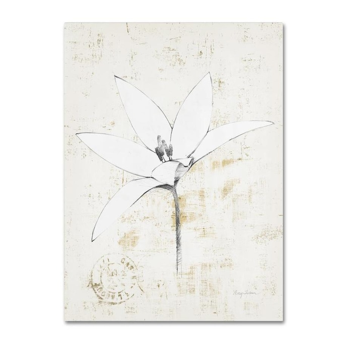 Trademark Fine Art Avery Tillmon Pencil Floral Xii Gold 18x24 Canvas Art In The Wall Art Department At Lowes Com
