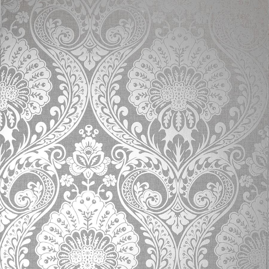 Arthouse Luxe Damask Silver Wallpaper In The Wallpaper Department At Lowes Com