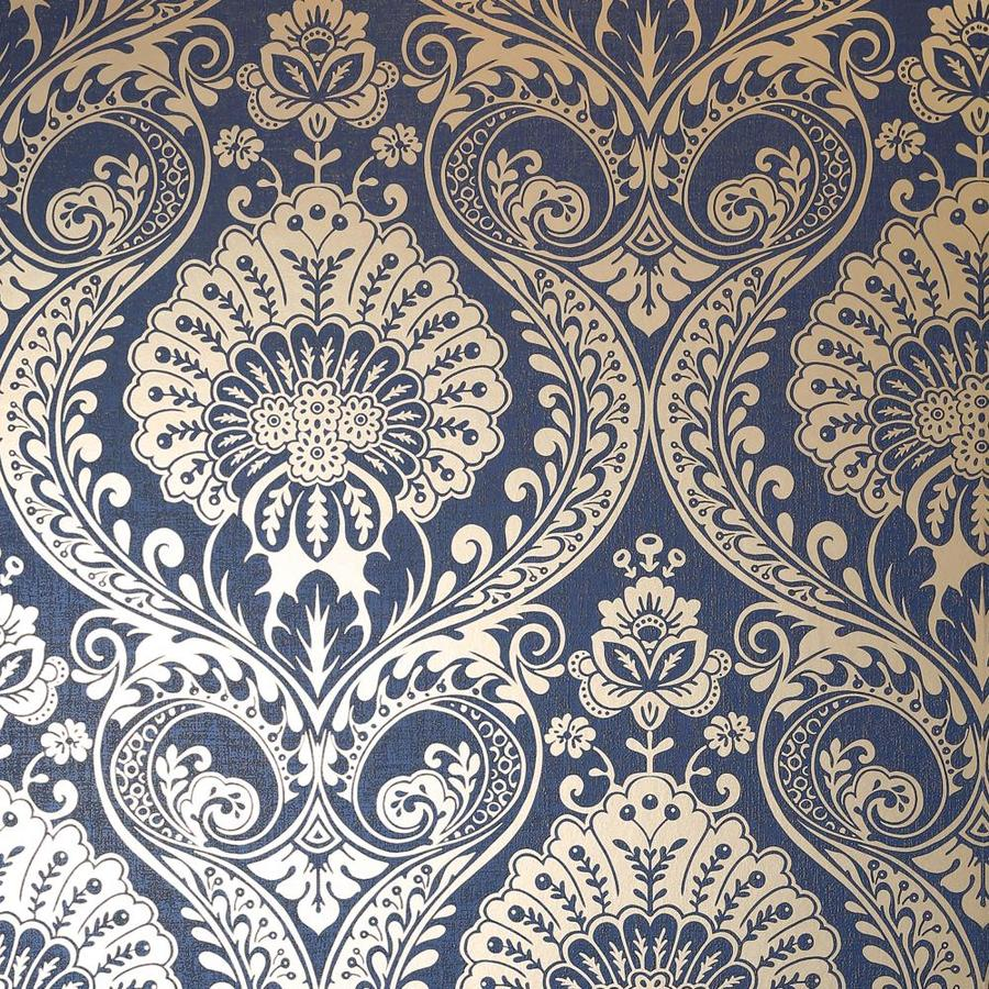 Arthouse Luxe Damask Navy And Gold Wallpaper In The Wallpaper Department At Lowes Com
