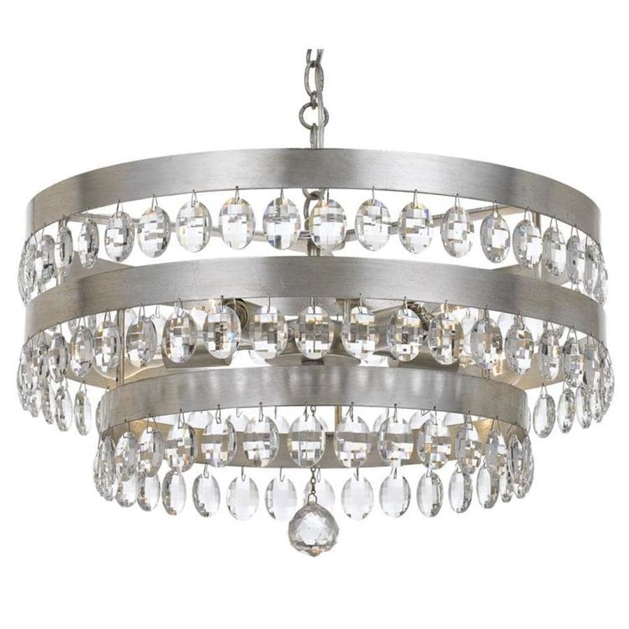 Crystorama Perla 5 Light Antique Silver Transitional Crystal Chandelier In The Chandeliers Department At Lowes Com