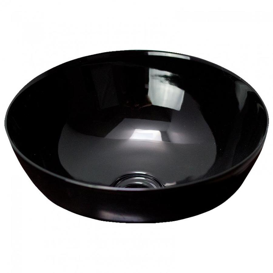 American Imaginations Black Ceramic Vessel Round Bathroom Sink 14 09 In X 14 09 In In The Bathroom Sinks Department At Lowes Com