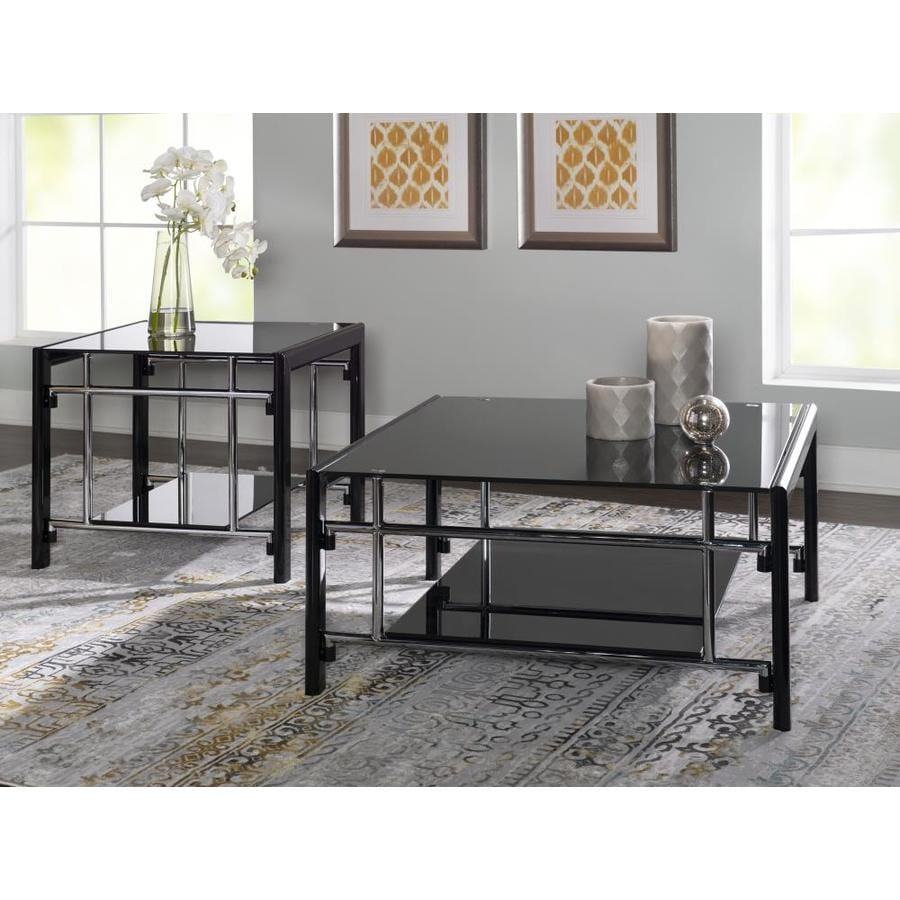 Powell Black Glass Coffee Table And End Table Set In The Accent Table Sets Department At Lowes Com