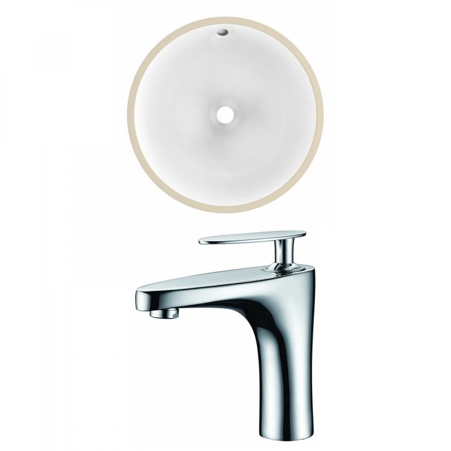 American Imaginations White Ceramic Undermount Round Bathroom Sink With Faucet With Overflow Drain 15 25 In X 15 25 In In The Bathroom Sinks Department At Lowes Com