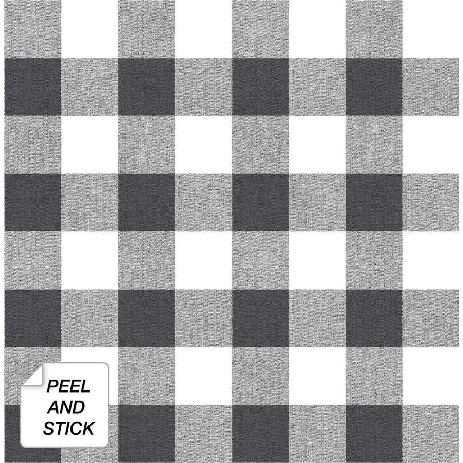 Nextwall 30 75 Sq Ft Black And White Picnic Plaid Self Adhesive Peel And Stick Wallpaper In The Wallpaper Department At Lowes Com