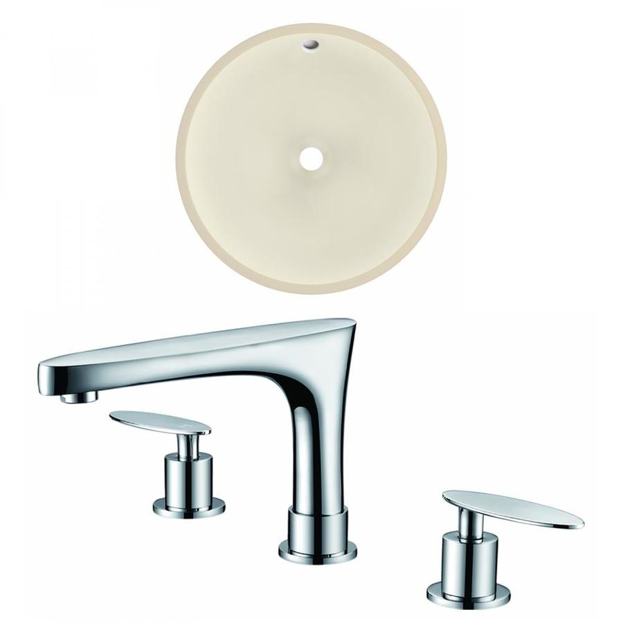 American Imaginations Biscuit Ceramic Undermount Round Bathroom Sink With Faucet With Overflow Drain 16 In X 16 In In The Bathroom Sinks Department At Lowes Com