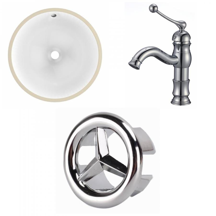 American Imaginations White Ceramic Undermount Round Bathroom Sink With Faucet With Overflow Drain 16 5 In X 16 5 In In The Bathroom Sinks Department At Lowes Com