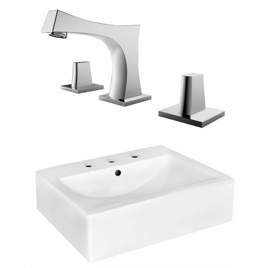 American Imaginations White Ceramic Wall Mount Rectangular Bathroom Sink With Faucet With Overflow Drain 16 25 In X 20 25 In In The Bathroom Sinks Department At Lowes Com
