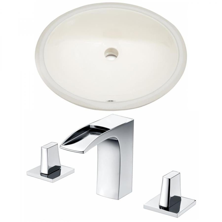 American Imaginations Biscuit Ceramic Undermount Oval Bathroom Sink With Faucet With Overflow Drain 16 25 In X 19 5 In In The Bathroom Sinks Department At Lowes Com