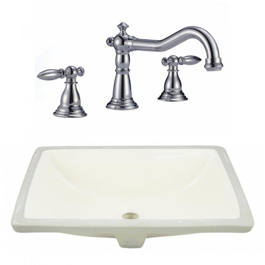 American Imaginations Biscuit Ceramic Undermount Rectangular Bathroom Sink With Faucet With Overflow Drain 14 35 In X 20 75 In In The Bathroom Sinks Department At Lowes Com