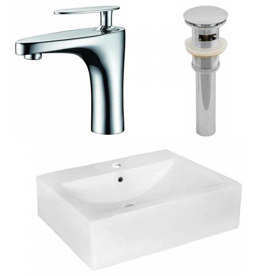 American Imaginations White Ceramic Wall Mount Rectangular Bathroom Sink With Faucet With Overflow Drain Drain Included 16 25 In X 20 25 In In The Bathroom Sinks Department At Lowes Com