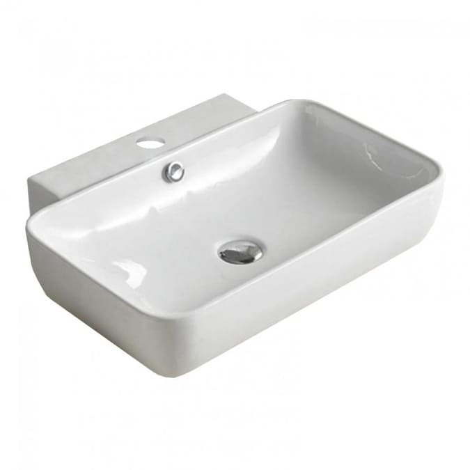 American Imaginations 23 2 In W Above Counter White Vessel For 1 Hole Center Drilling In The Bathroom Sinks Department At Lowes Com
