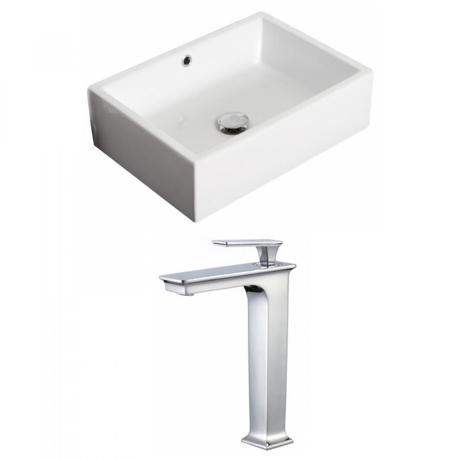 American Imaginations White Ceramic Vessel Rectangular Bathroom Sink With Faucet With Overflow Drain 14 25 In X 20 In In The Bathroom Sinks Department At Lowes Com