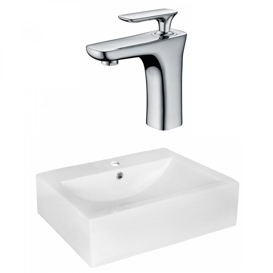American Imaginations White Ceramic Vessel Rectangular Bathroom Sink With Faucet With Overflow Drain 16 25 In X 20 25 In In The Bathroom Sinks Department At Lowes Com