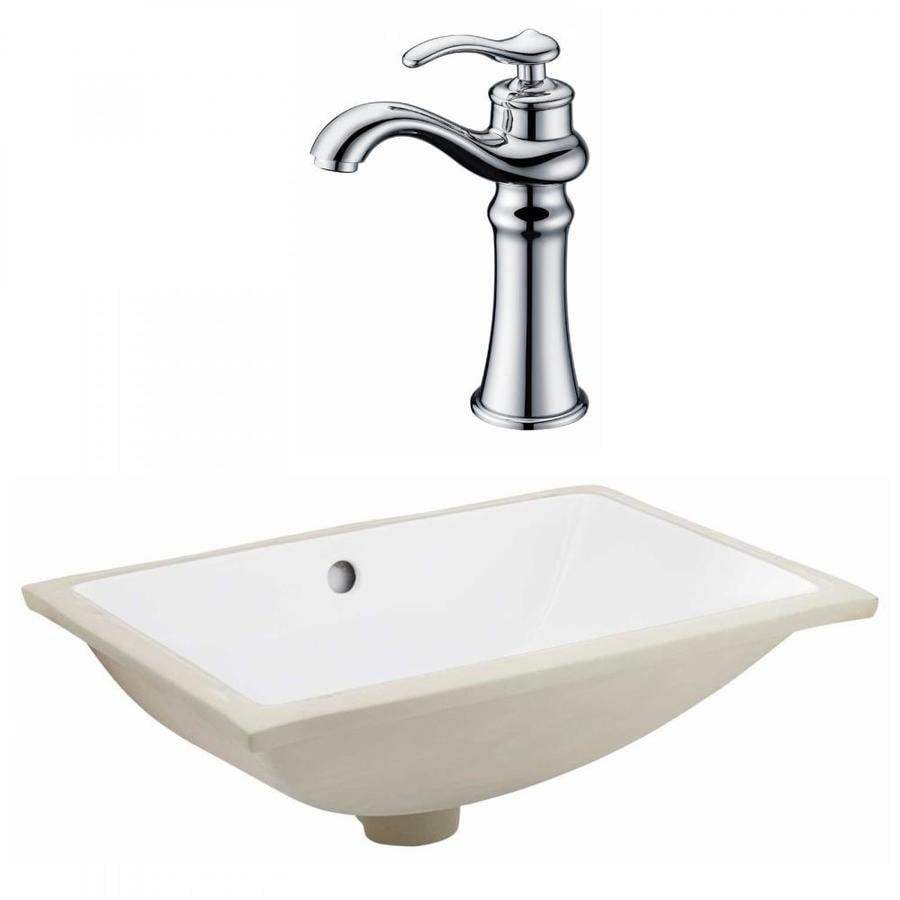American Imaginations White Ceramic Undermount Rectangular Bathroom Sink With Faucet With Overflow Drain 14 35 In X 20 75 In In The Bathroom Sinks Department At Lowes Com