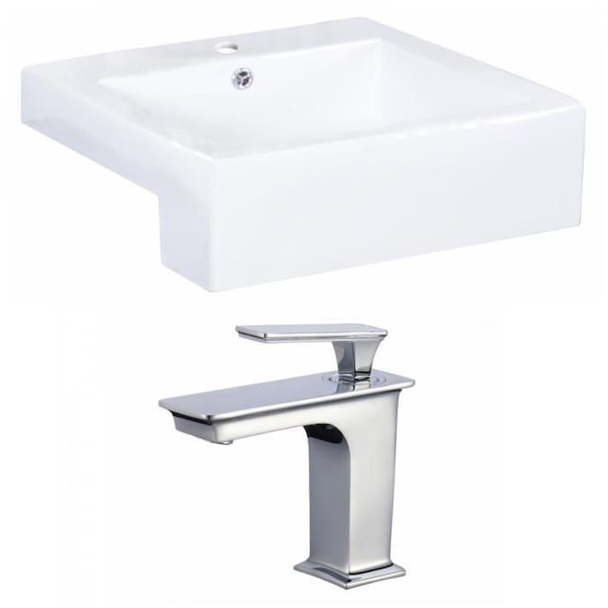 american imaginations xena farmhouse white ceramic drop in or undermount rectangular bathroom sink with faucet and overflow drain 19 in x 20 25 in