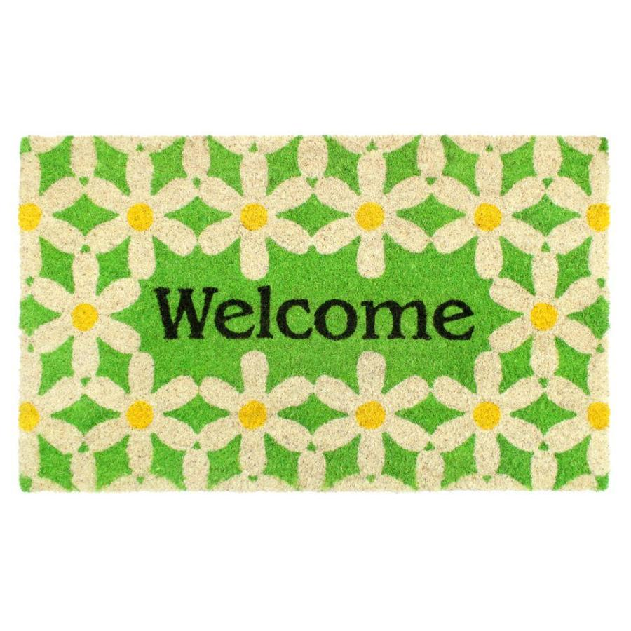 Zig Zag Daisy Coir Doormat 1 1 2 X 2 1 2 Bleach Indoor Outdoor Area Rug In The Rugs Department At Lowes Com