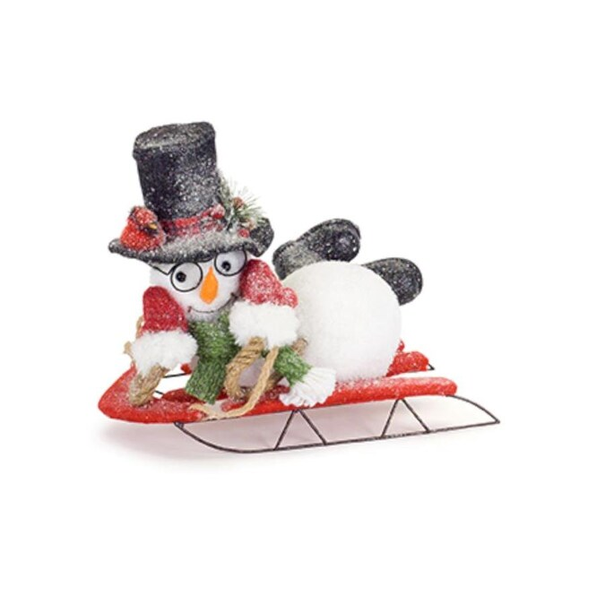 Snowman On Sled Set 2 11 5l X 10h In The Novelty Christmas Decorations Department At Lowes Com