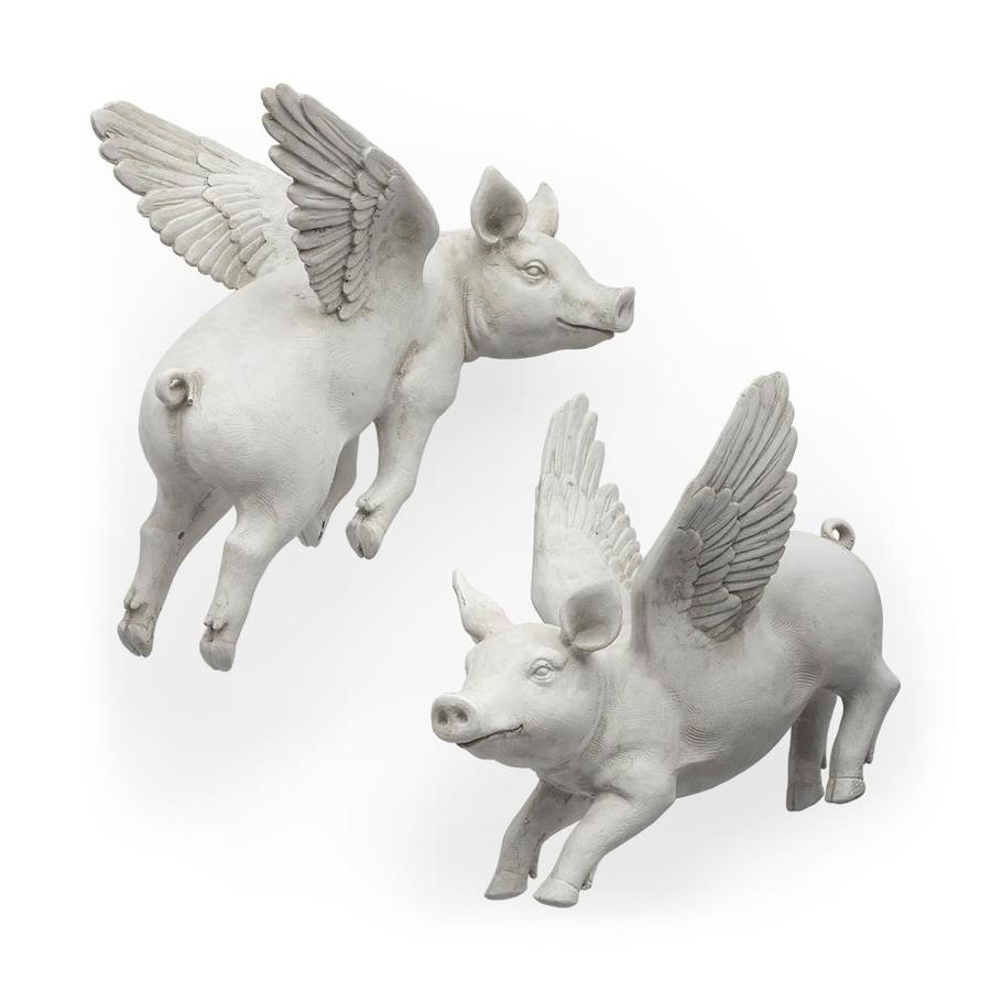 Mercana Hogbadi Set Of 2 White Flying Pigs In The Wall Accents Department At Lowes Com