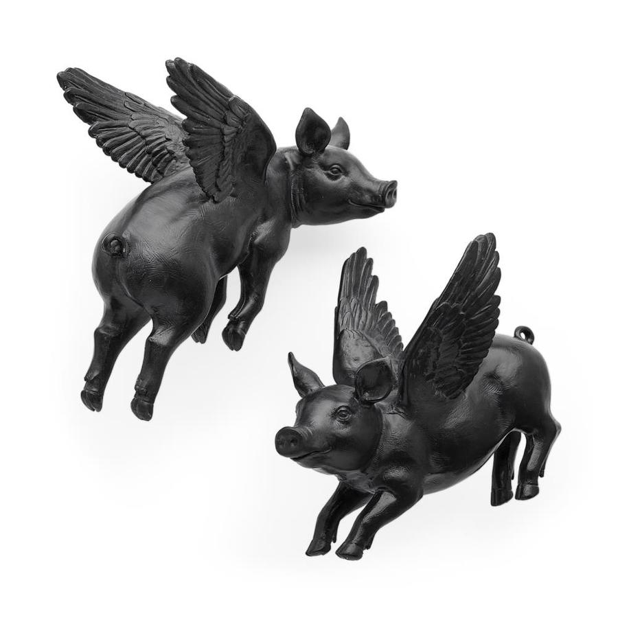 Mercana Hogbadi Set Of 2 Black Flying Pigs In The Wall Accents Department At Lowes Com