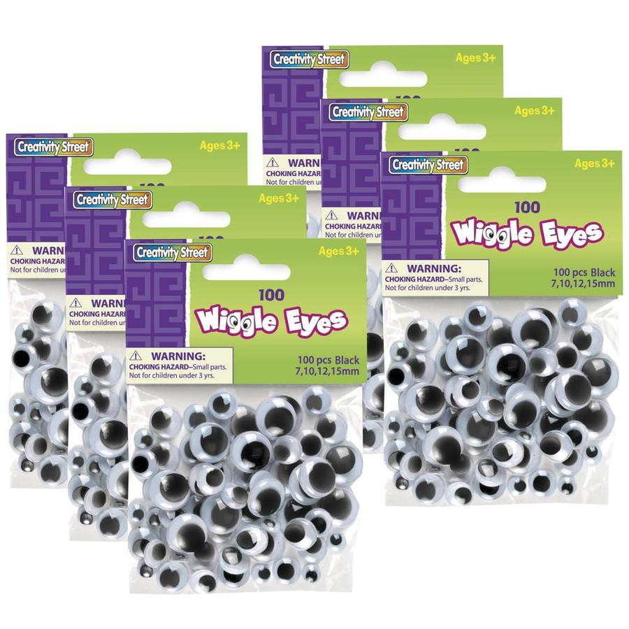 Creativity Street Wiggle Eyes Black Assorted Sizes 100 Pieces Per Pack 6 Packs In The Craft Supplies Department At Lowes Com