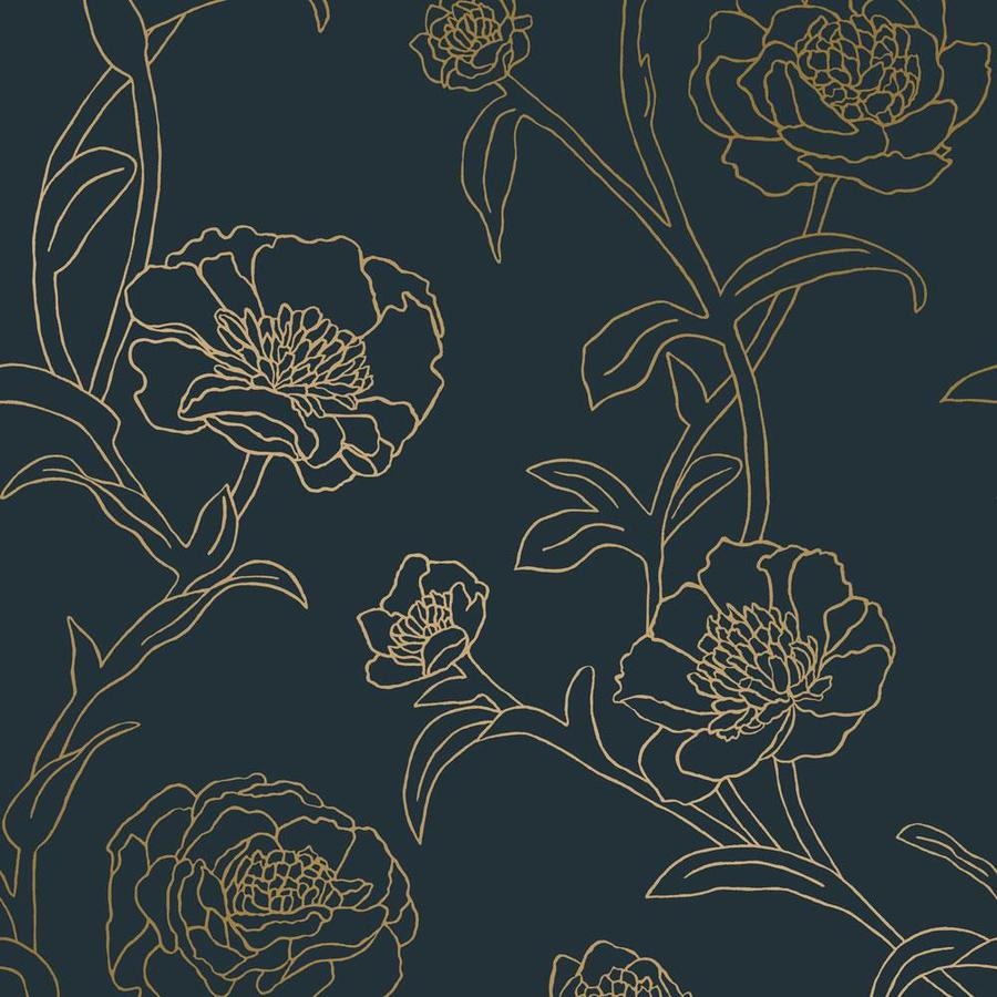 Tempaper 28 Sq Ft Peonies Peacock Blue And Metallic Gold Peel And Stick Wallpaper In The Wallpaper Department At Lowes Com
