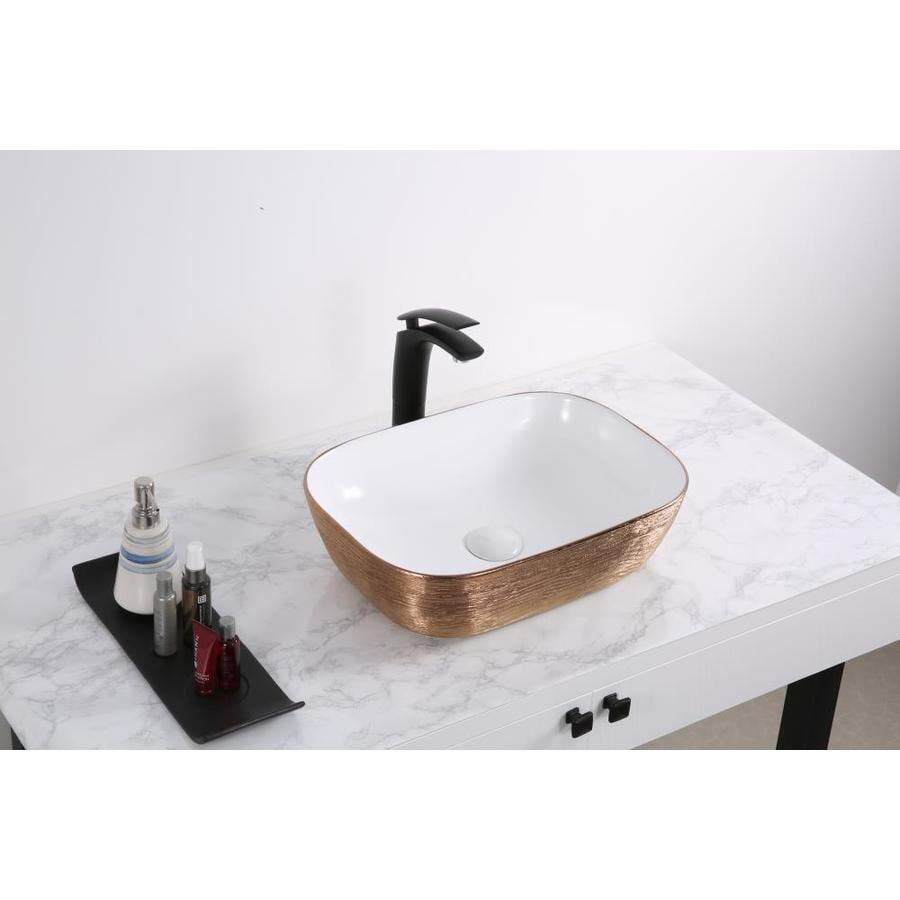 Ruvati Pietra Rose Gold Ceramic Vessel Rectangular Bathroom Sink Drain Included 19 75 In X 15 75 In In The Bathroom Sinks Department At Lowes Com