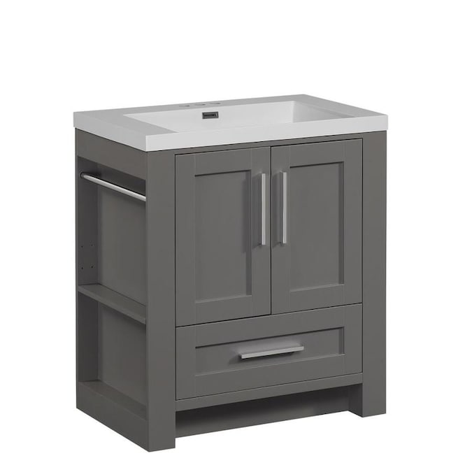 Runfine Aubrey 30 In Gray Single Sink Bathroom Vanity With White Cultured Marble Top In The Bathroom Vanities With Tops Department At Lowes Com