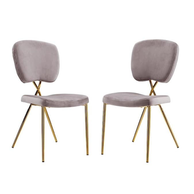 Chic Home Design Set Of 2 Chrissy Contemporary Modern Velvet Upholstered Dining Side Chair Wood Frame In The Dining Chairs Department At Lowes Com
