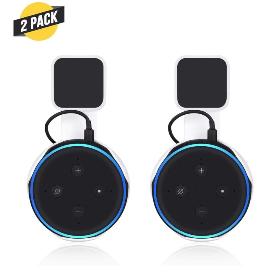 Wasserstein Echo Dot 3rd Gen Ac Outlet Mount Flexible Mounting For Your Alexa Smart Speaker White 2 Pack In The Smart Device Mounts Department At Lowes Com