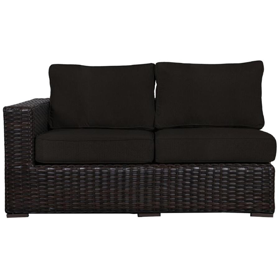 Teva Furniture Santa Monica Wicker Outdoor Sofa With Cushion S And Black Rattan Frame In The Patio Sectionals Sofas Department At Lowes Com