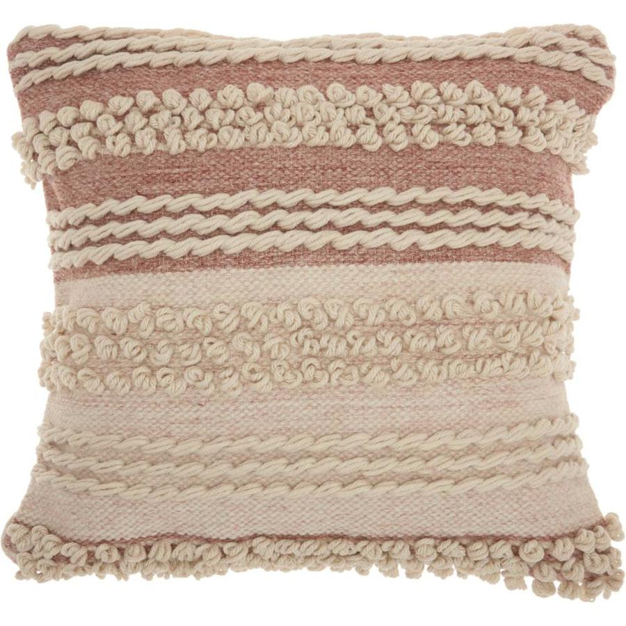 Mina Victory Lifestyles 20 In X 20 In Pink 65 Polyester 35 Cotton Square Indoor Decorative Pillow In The Throw Pillows Department At Lowes Com