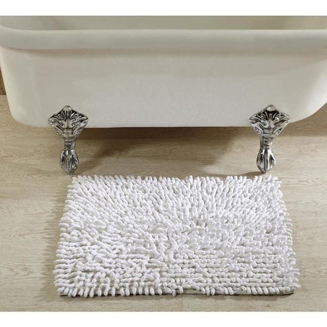 Better Trends Loopy Chenille Bath Rug 24 In X 24 In White Cotton Bath Rug In The Bathroom Rugs Mats Department At Lowes Com